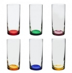 CJ 6 COPOS ALTOS DE CRISTAL ECOLOGICO LONG DRINK SET-BAR FAVORIT COLORS 380ML